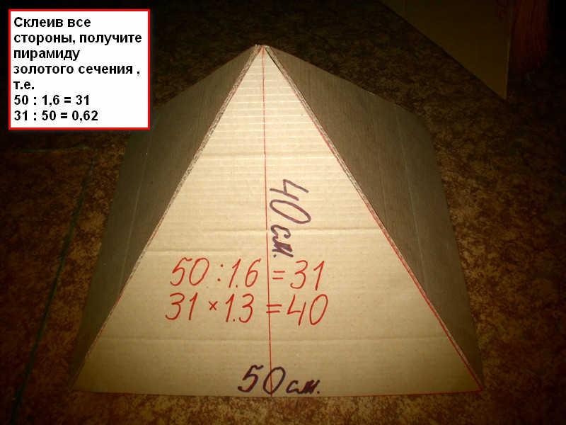 Размеры пирамиды золотое сечение своими руками